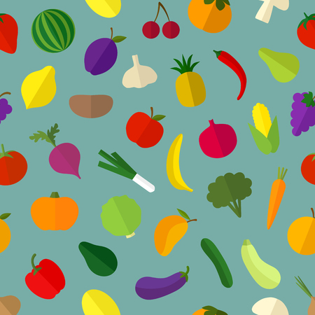 Vector vegetable and fruit colorful pattern, background.