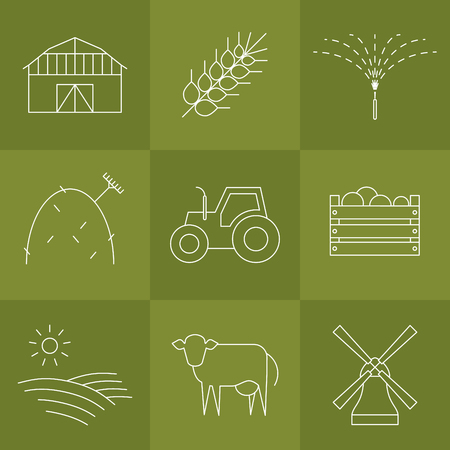 hay field: Vector agriculture, farming line icons. Barn wheat watering hay tractor box field cow windmill.