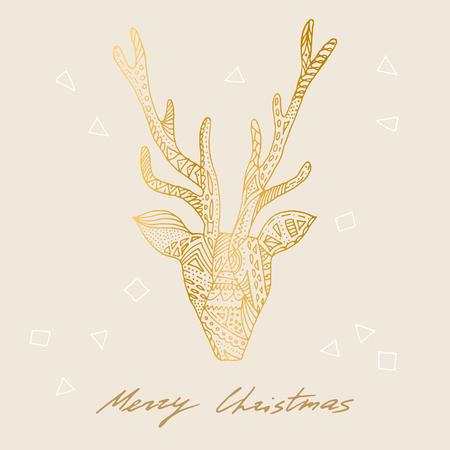 genuine: Vector gold deer Merry Christmas postcard, poster. Illustration