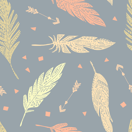 softly: Vector seamless cute feather boho pattern, background. Illustration