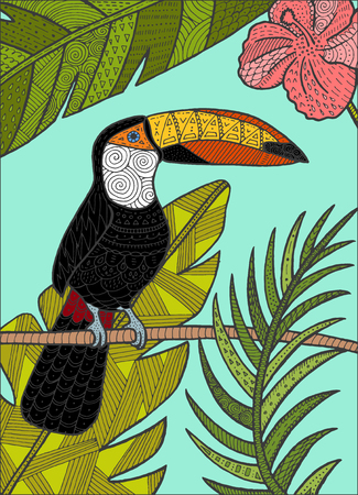Vector hand drawn toucan bird tropical illustration for postcard, poster. Can be used for adult coloring book (easy to remove colors).