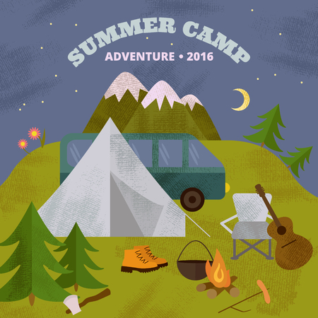 moon chair: Vector camping template, layout and concept. Includes tent guitar axe fir-tree mountains chair moon travel boots cauldron bonfire.
