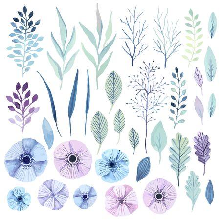 Vector flower wreath. Elegant floral elements. Cute pastel plants. Watercolor effect.