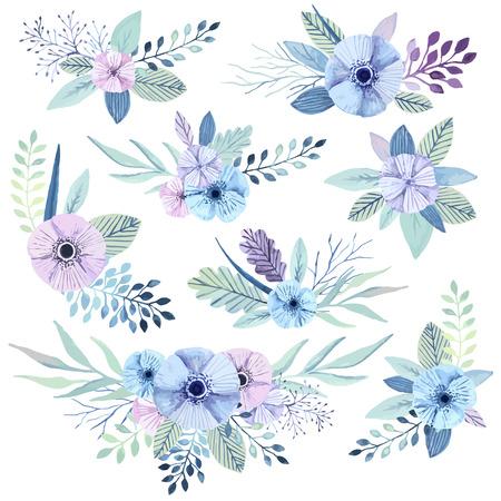 Vector flower bouquets collection. Elegant floral element set. Cute pastel plants. Watercolor effect. 向量圖像