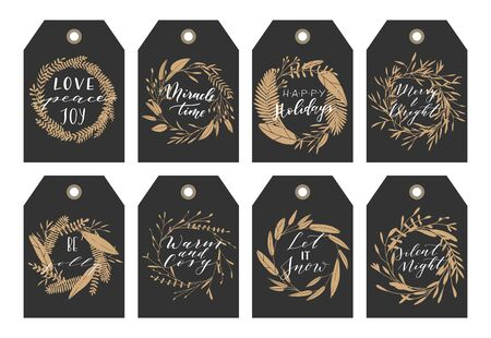 overlays: Vector big collection of hand written christmas phrases and quotes. Elegant calligraphic lettering tags, cards. Illustration