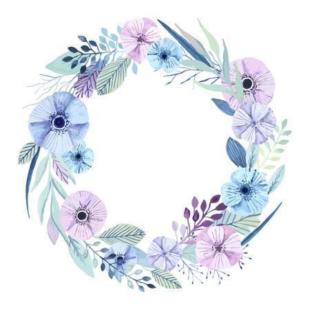 ベクターの花の花輪。エレガントな花の要素。かわいいパステル カラーの植物。水彩画の効果。  イラスト・ベクター素材