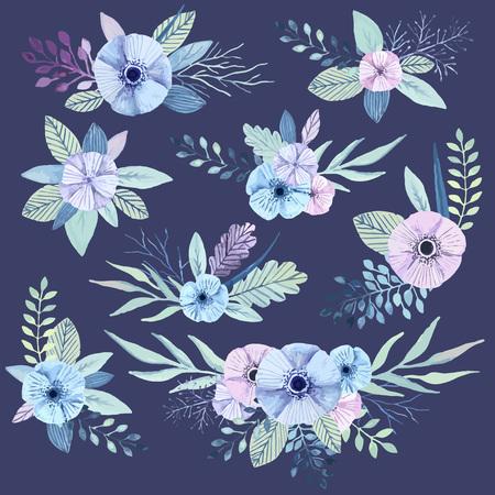 Vector flower bouquets collection. Elegant floral elements. Cute pastel plants. Watercolor effect.