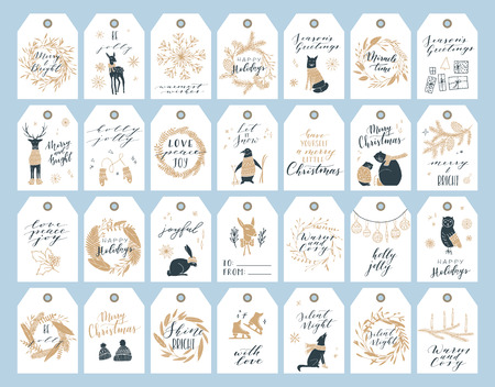 Vector big collection of hand written christmas phrases and quotes. Elegant calligraphic lettering tags, cards. Cute winter graphic elements. 矢量图像