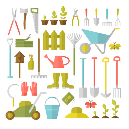 Vector big collection of gardening tools. Rack pitchfork hose wheelbarrow watering can cutter fork lawn pruner secateurs shovel spade and more. Illustration
