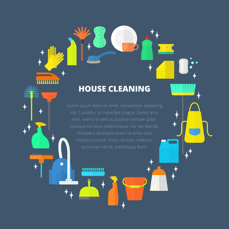 brush cleaner: Vector trendy flat cleaning icon set, template, concept. Vacuum cleaner protective gloves plunger spray bottle wipe squeegee sponge bucket mop brush duster and many more.