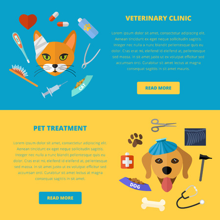 Vector veterinary template, website layout and concept. Cat and dog. Pets and medical tools icons.
