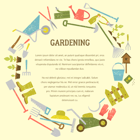 Vector gardening concept, template and flyer. Includes seamless gardening pattern. Illustration