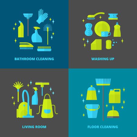 brush cleaner: Vector trendy flat cleaning icon set. Vacuum cleaner. Protective gloves, plunger and spray bottle.  Wipe, squeegee and sponge. Bucket and mop. Brush, duster and many more. Illustration