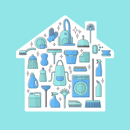 dishwashing liquid: Vector trendy flat cleaning icon set. Vacuum cleaner protective gloves plunger spray bottle  wipe squeegee sponge bucket mop brush duster and many more.