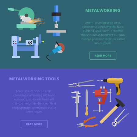 metalworking: Vector metalworking icons, concept. Metal cutting milling grinding lathe work metal tools. Illustration