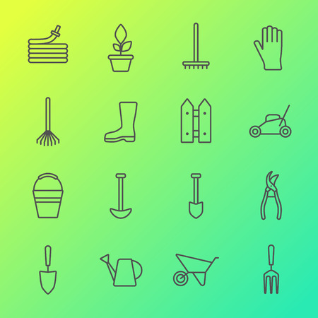 Vector big collection of line gardening tools icons. Rack hose wheelbarrow watering can cutter fork protective gloves lawn pruner secateurs shovel spade bucket scissors hoe. Illustration