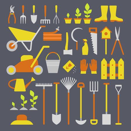 Vector grande collection d'outils de jardinage. Rack fourche flexible brouette arrosoir cutter pelouse fourche sécateurs sécateur pelle bêche et plus.