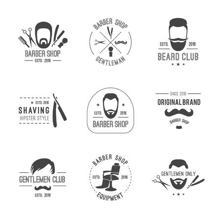 barber scissors: Vector hipster barber shop logos, badges. Beards scissors mustache razor. Illustration