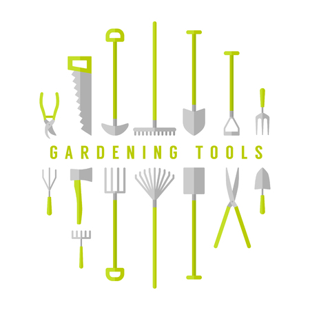 Vector big set, collection of gardening tools. Illustration