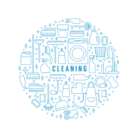 Vector trendy flat cleaning icon set. Template, concept or poster. Vacuum cleaner and protective gloves. Plunger, spray bottle and wipe. Squeegee, sponge and bucket. Mop and brush. Duster and many more. Vetores