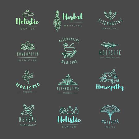 Vector de moda dibujado a mano medicina alternativa, homeopatía logotipos, insignias, emblemas.