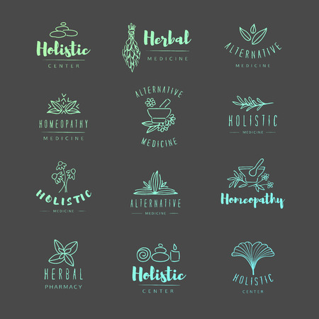 camomile tea: Vector trendy hand drawn alternative medicine, homeopathy logos, badges, emblems.