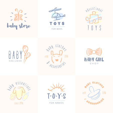 infant: Vector trendy hand drawn cute baby, infant logo collection. Illustration