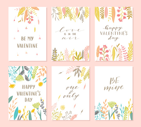 Vector modern love cards, posters for Valentines Day or date, wedding. Hand lettering, flower and plants. Stock Illustratie