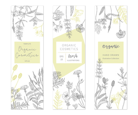 Hand drawn floral cards and banners image illustration