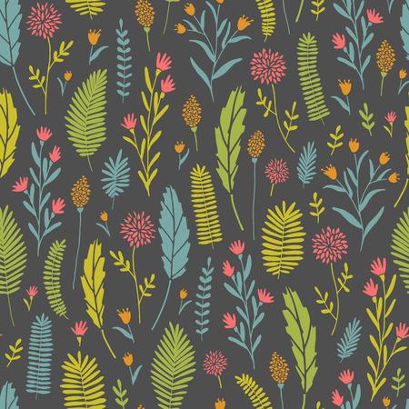 Vector hand drawn floral seamless pattern and backdrop. Elegant plant background. Intricate modern summer and spring flower illustration set. Çizim