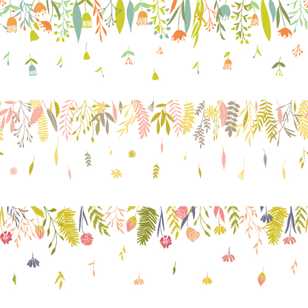 Cute seamless flower borders. Vector hand drawn big flower and plant collection. Elegant botanical summer and spring floral set.