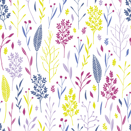 Vector hand drawn floral seamless pattern and backdrop. Elegant plant background. Intricate modern fall and winter flower illustration set.