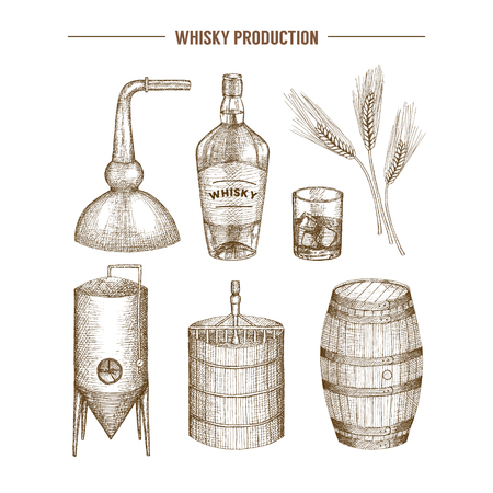 Vector hand getrokken whisky productie-elementen. Stock Illustratie