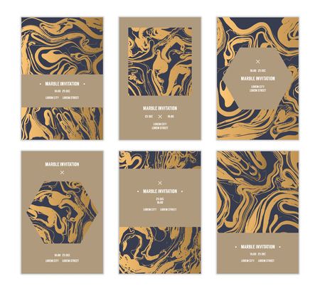Vector handmade abstract marbling cards, invitations, wedding save the date cards. Illustration