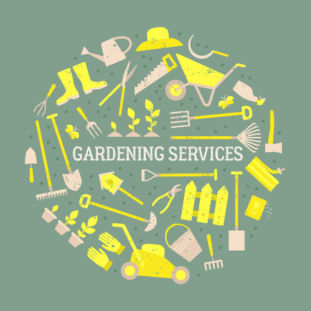 Vector big collection of gardening tools. Rack, pitchfork, hose, wheelbarrow, watering can, cutter, fork, lawn, pruner, secateurs, shovel, spade and more. Illustration