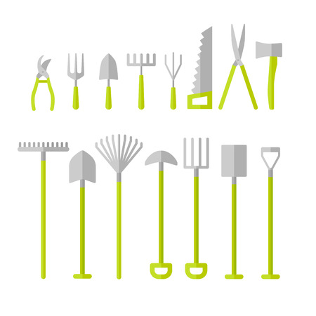 Vector big collection of gardening tools.