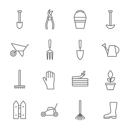 Vector big collection of gardening tools line icons. Rack, hose, wheelbarrow, watering can, cutter, fork, protective gloves, lawn, pruner, secateurs, shovel, spade, bucket, scissors, hoe.