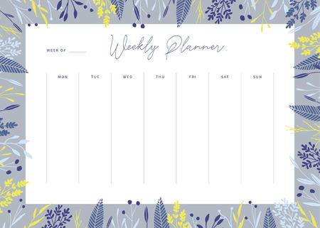 Cute vector weekly planner template. Elegant floral pastel tone organizer and notepad. Week calendar schedule.