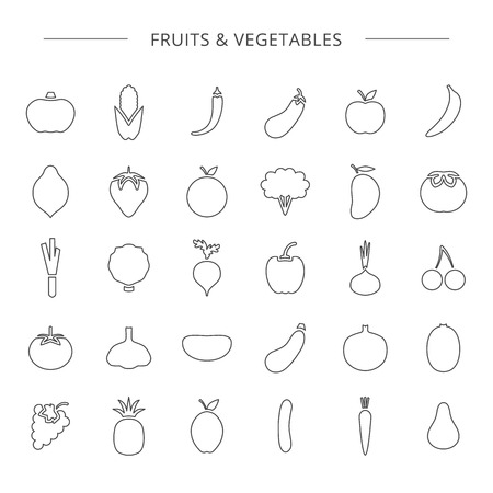 Vector big collection of fruit and vegetable line icons isolated on white background. 向量圖像