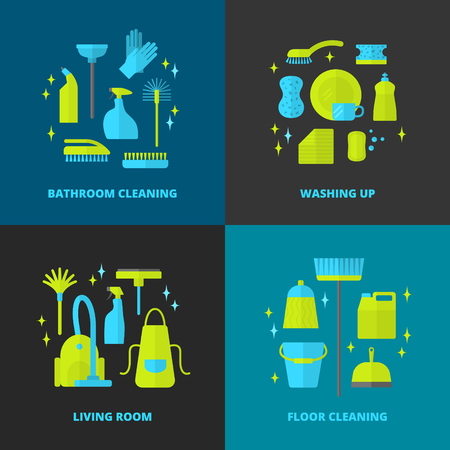 Vector trendy flat cleaning icon set. Stock Illustratie