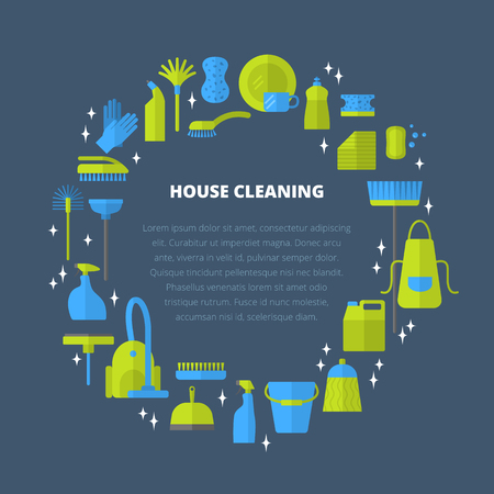 A Vector trendy flat cleaning icon set, template concept.