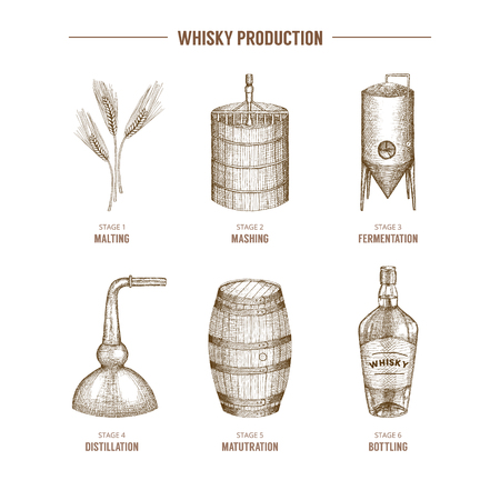 Hand drawn whisky production elements icons