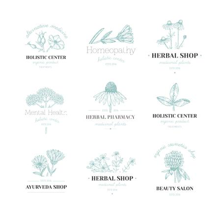 Vintage hand drawn herb emblems design