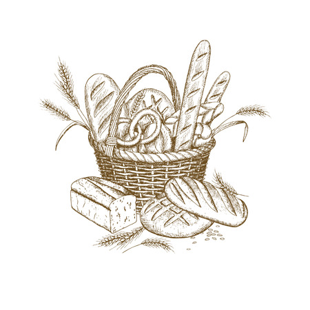 Hand drawn Wicker bread basket design