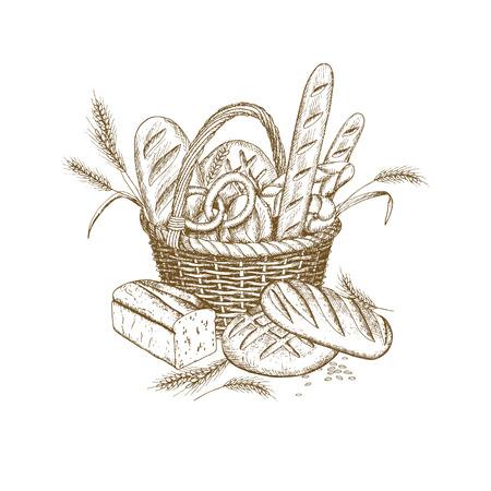 Disegno a mano cesto di pane di vimini Archivio Fotografico - 99192513