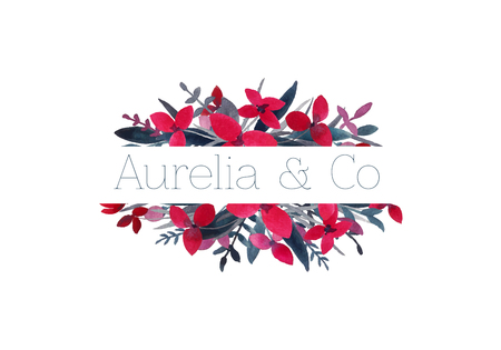Vector watercolor cute logo, emblem, badge, stamp for wedding, gardening, photography services and many more. Flower wreath Фото со стока