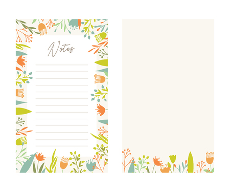 Cute vector notes templates. Elegant floral pastel tone organizers and notepads. Floral stationery.