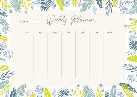 Szablon tygodniowego planowania wektor ładny. Elegancki organizer i notatnik w pastelowych kwiatowych kolorach. Harmonogram tygodniowy.
