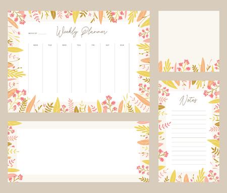 cute vector weekly planner templates elegant floral pastel tone