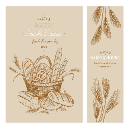 Vector hand drawn bakery templates, banners, flyers, leaflets.
